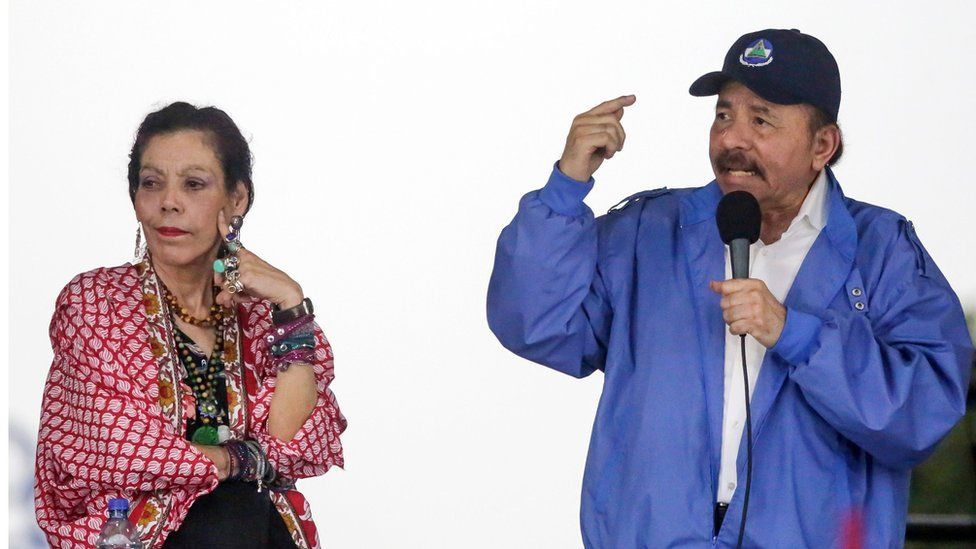 Nicaraguan President Daniel Ortega and wife Rosario Murillo pictured in 2018