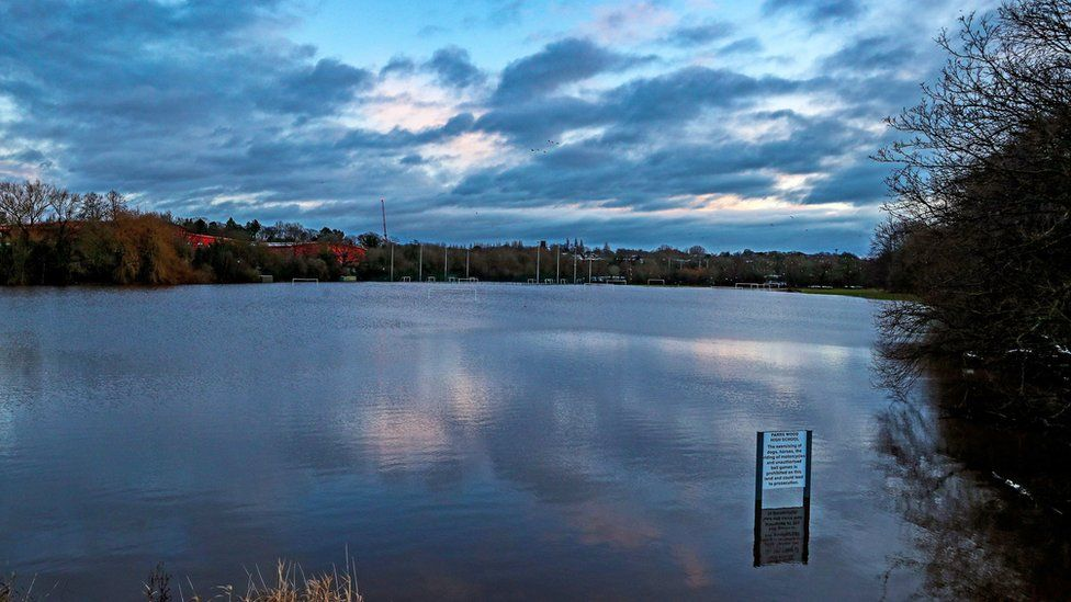 Submerged playing fields in Didsbury, Manchester