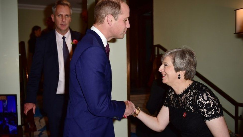 The Duke of Cambridge and Prime Minister Theresa May