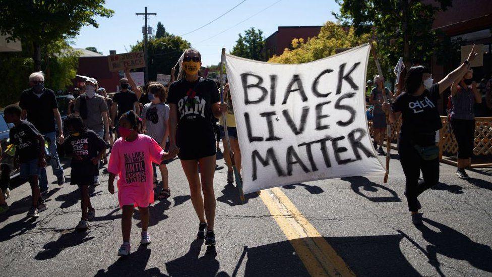 Black Lives Matter protestors in Portland, Oregon