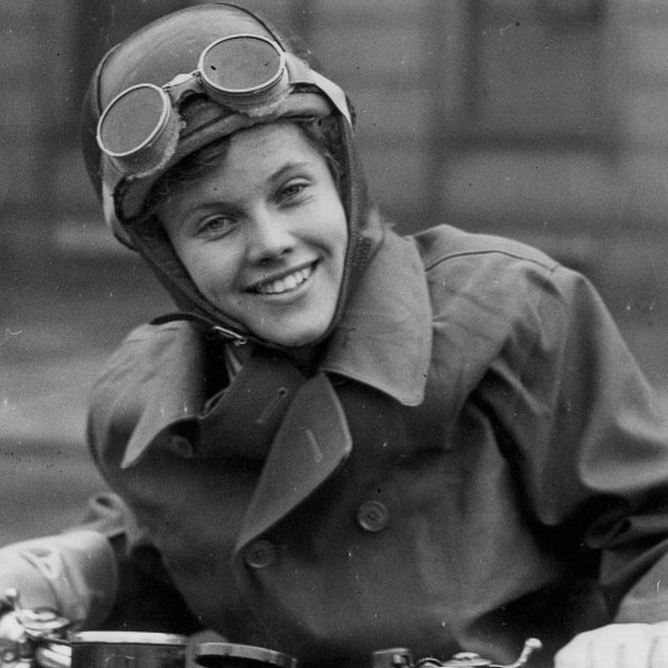 Honor Blackman as a dispatch rider