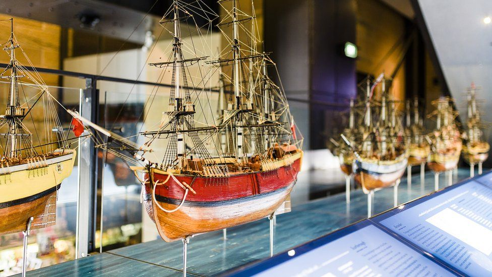 Models of ships from early British settlement in Australia on display at a museum in Sydney