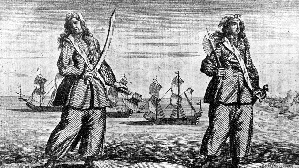 An engraving of female Pirates Mary Read and Anne Bonny