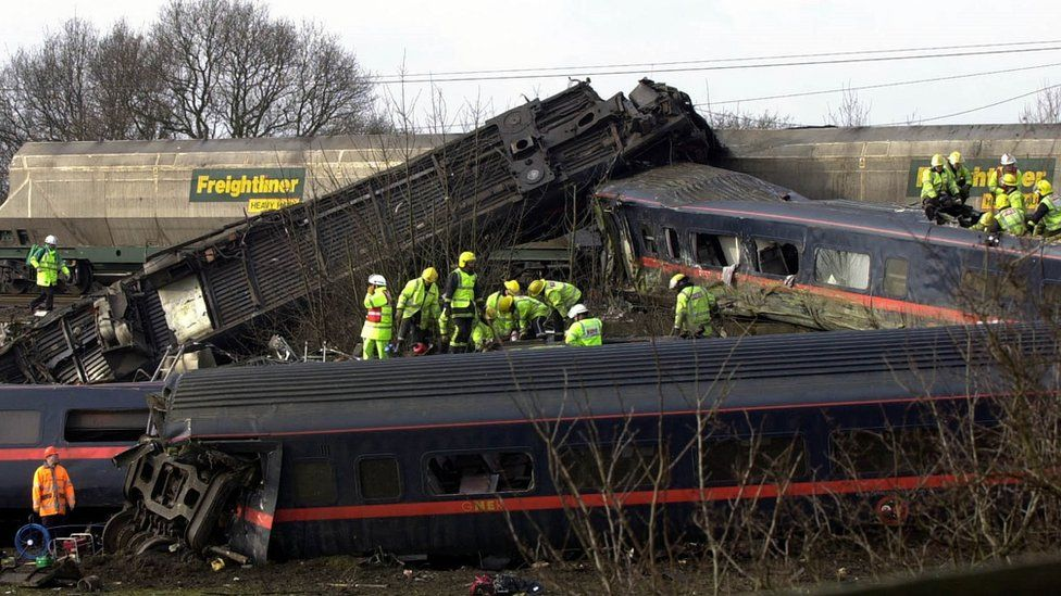 Aftermath of the Selby rail crash