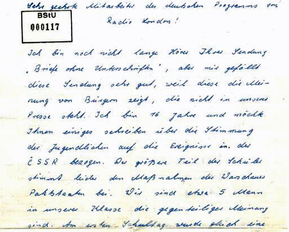 Karl-Heinz Borchardt's first letter