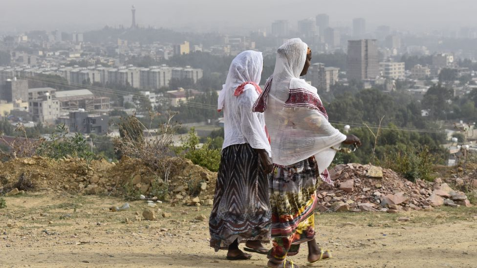 Two women walking in Mekelle, Ethiopia