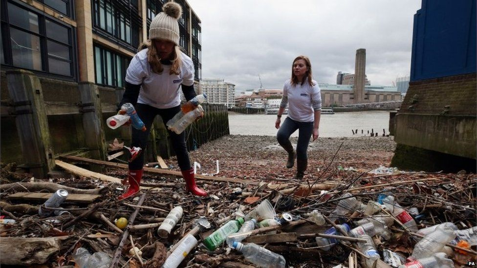 Volunteers collect and count plastic bottles littering the foreshore of the River Thames at Queenhithe Dock in central London