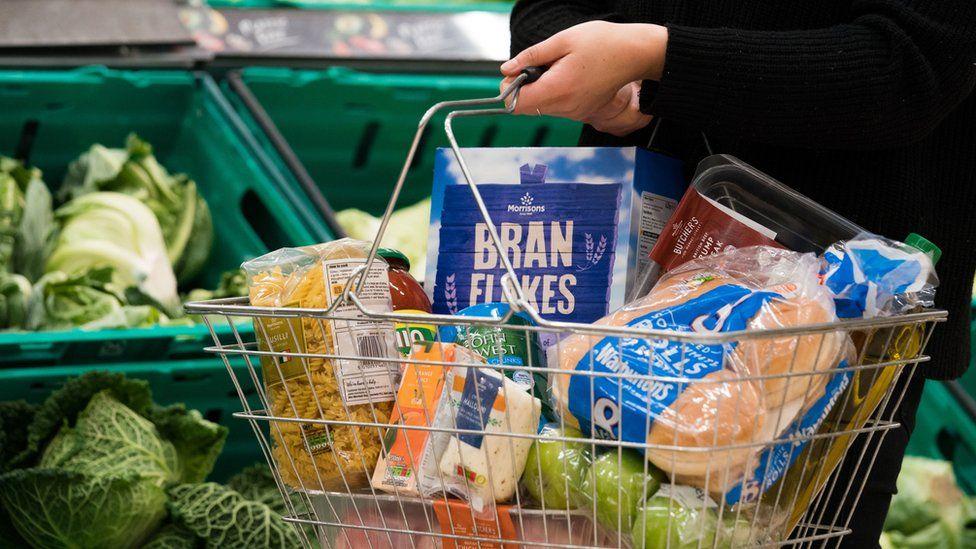 Morrisons' food in shopping basket