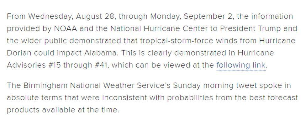 NOAA statement on 6 September 2019