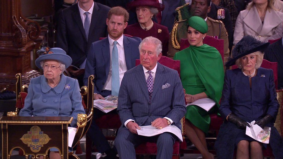 The Queen sat next to the Duke and Duchess of Cornwall, in front of the Sussexes