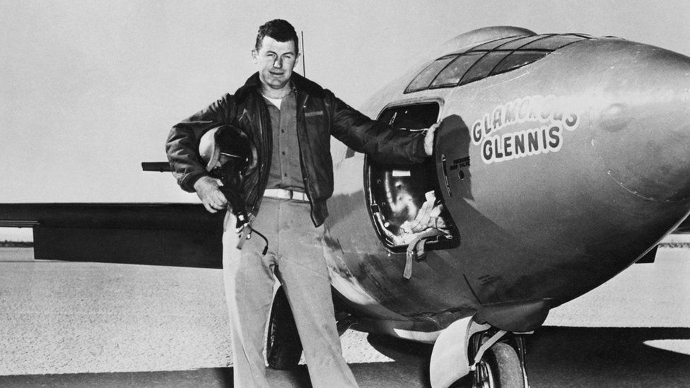 Chuck Yeager besides the Bell X-1 plane
