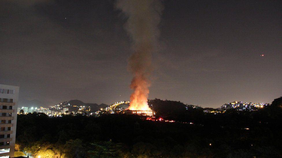A fire blazes at the National Museum of Brazil in Rio de Janeiro, Brazil on 2 September 2018