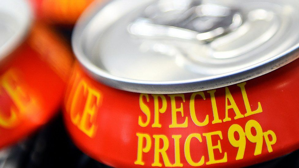 a drink can with a 99p price tag