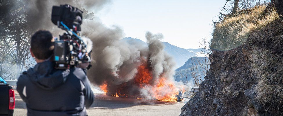 A car on fire in the new series of Top Gear