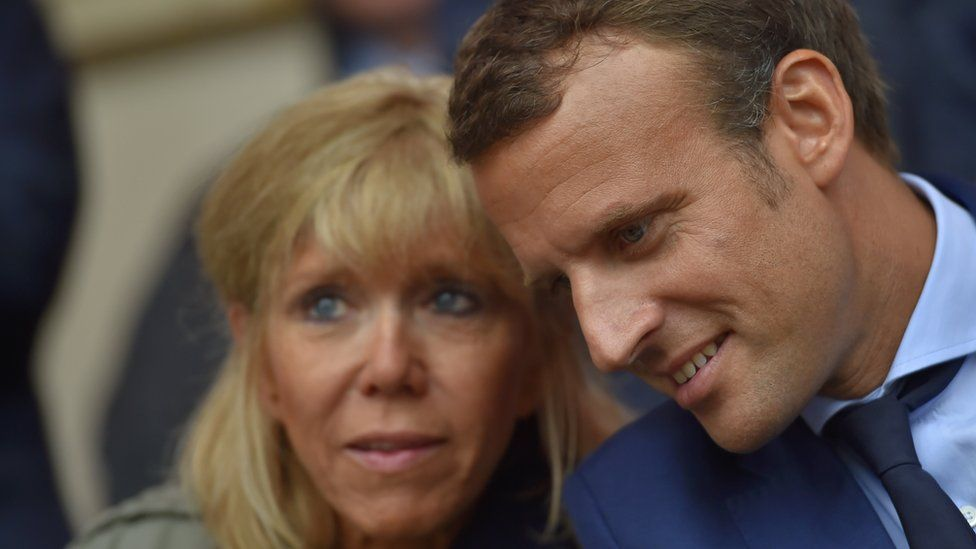 Mr Macron with his wife Brigitte Trogneux