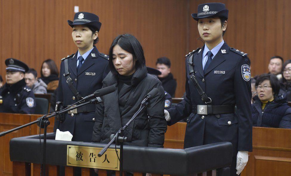Mo Huanjing pictured at her trial in Hangzhou, Zhejiang Province