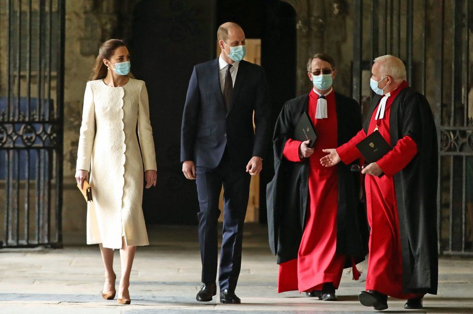 The Duke and Duchess of Cambridge visit the vaccination centre at Westminster Abbey