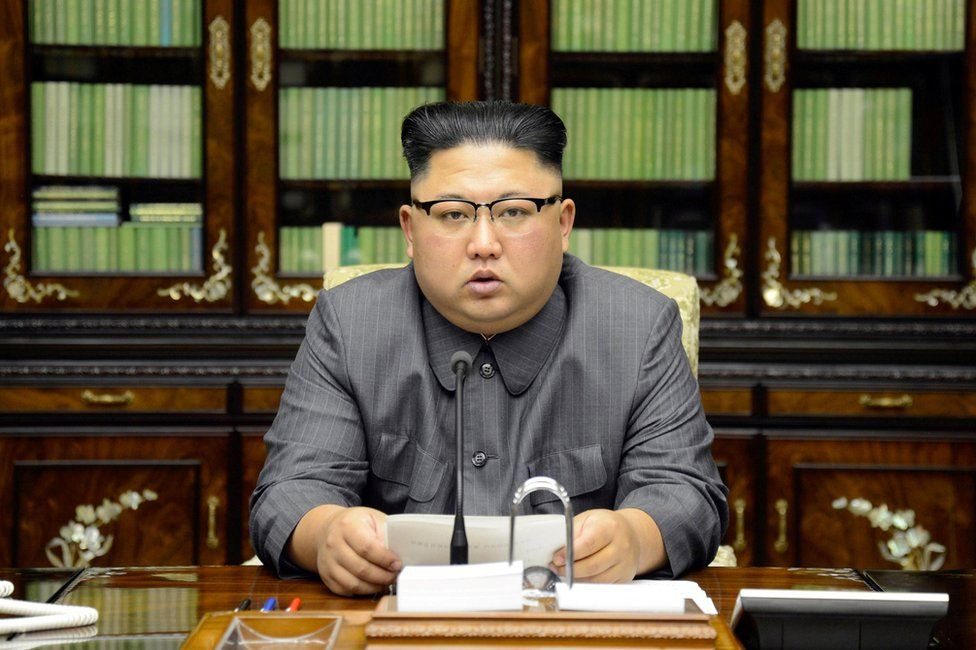 """North Korea's leader Kim Jong Un makes a statement regarding U.S. President Donald Trump's speech at the U.N. general assembly, in this undated photo released by North Korea""""s Korean Central News Agency (KCNA) in Pyongyang 22 September 2017."""