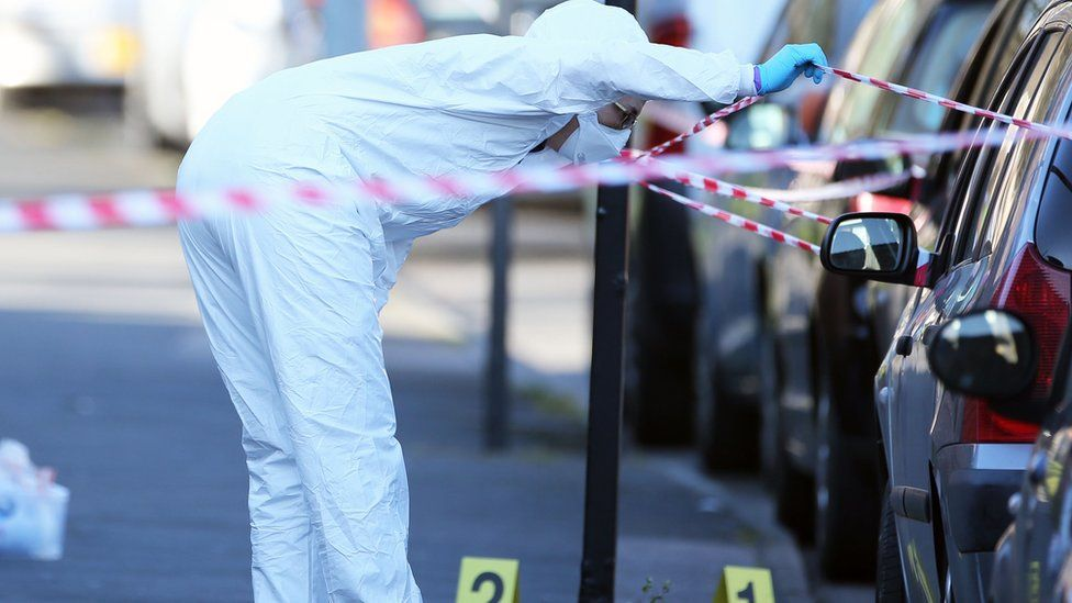 Forensic officers have been working at the scene