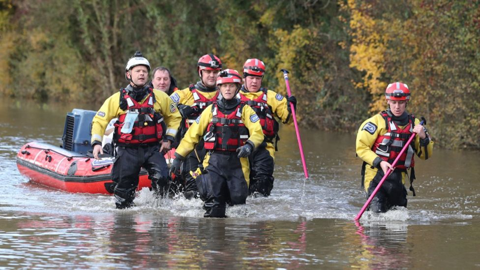 Rescuers with a boat