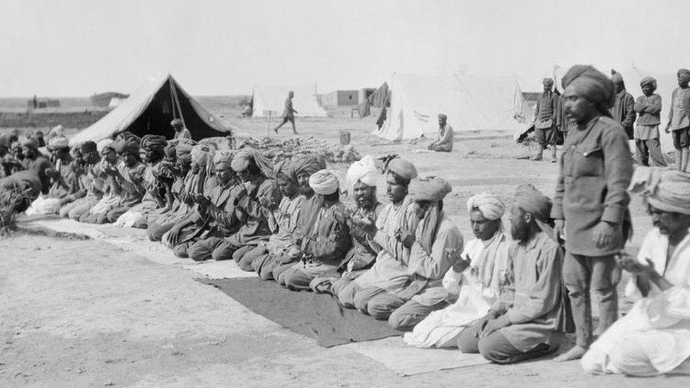 Muslim soldiers offering prayers during World War One