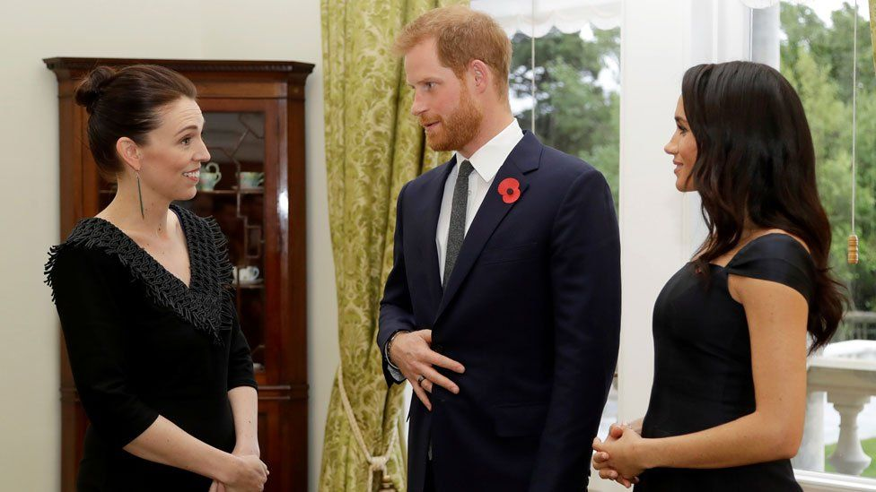 New Zealand PM Jacinda Arden meeting the Duke and Duchess of Sussex