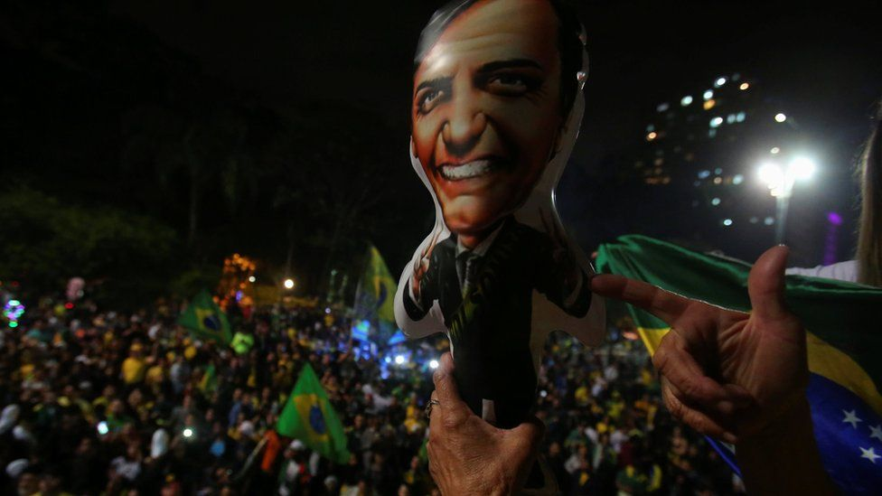 Supporters of Jair Bolsonaro, far-right lawmaker and presidential candidate of the Social Liberal Party (PSL), react after Bolsonaro wins the presidential race, in Sao Paulo, Brazil October 28, 2018.