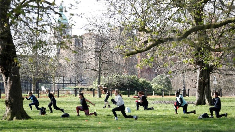 Exercise class in Hyde Park