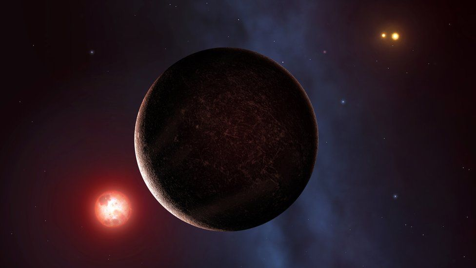 Artist's impression of an exoplanet with two stars in the background