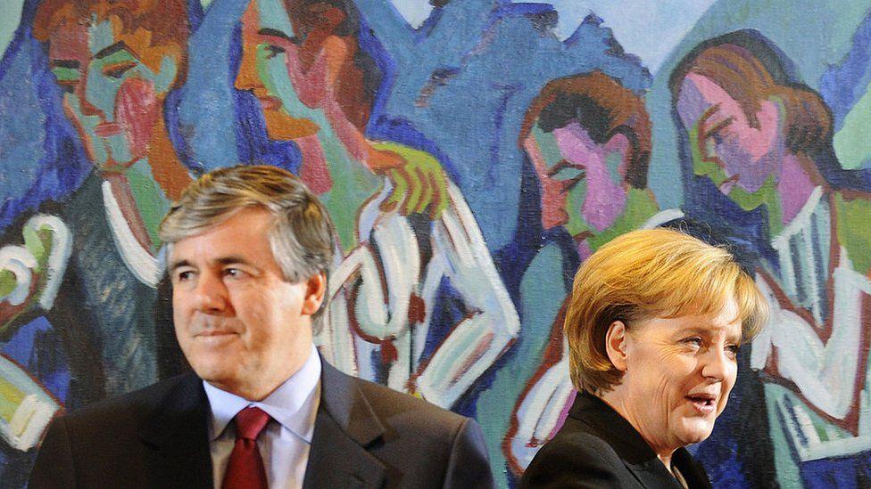 Angela Merkel with former Deutsche Bank boss Josef Ackermann