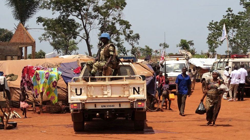 UN peacekeepers pictured last month in Bria, north of Bangassou