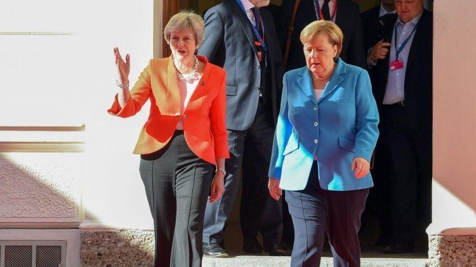 Theresa May and Angela Merkel in Salzburg, September 2018