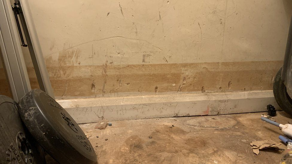 Water damage on wall