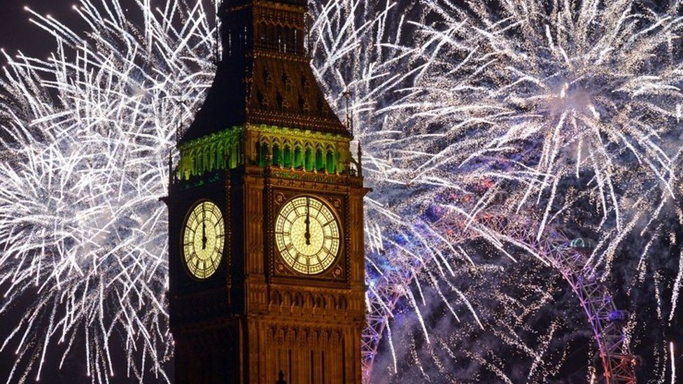Fireworks at Big Ben, Houses of Parliament, London. - Midnight at Start of New Year 2013