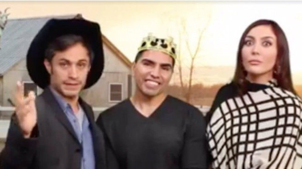 A screen grab from comedy show showing actor Gael Garcia Bernal in a parody based on Mr Ibarra's video