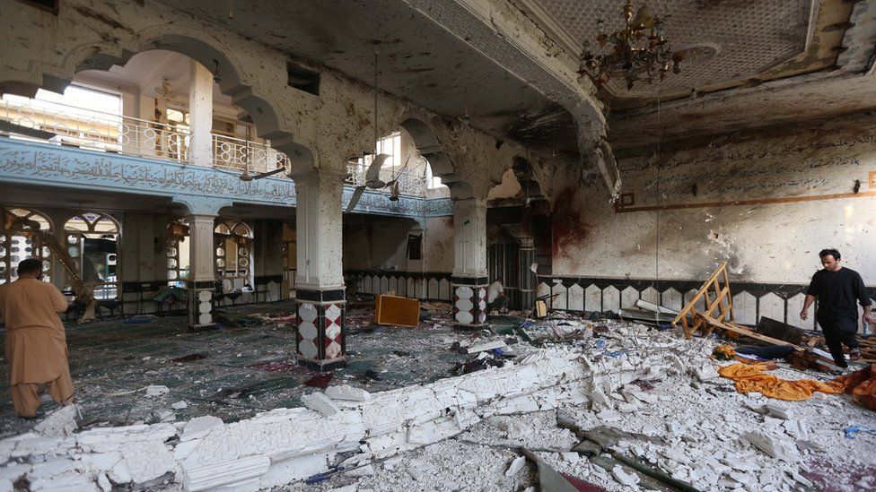The mosque in the Afghan city of Herat was severely damaged in the suicide bomb attack, 2 August 2017