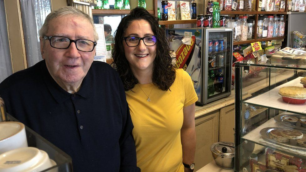 Dom Balestrazzi and his daughter Anna in his cafe