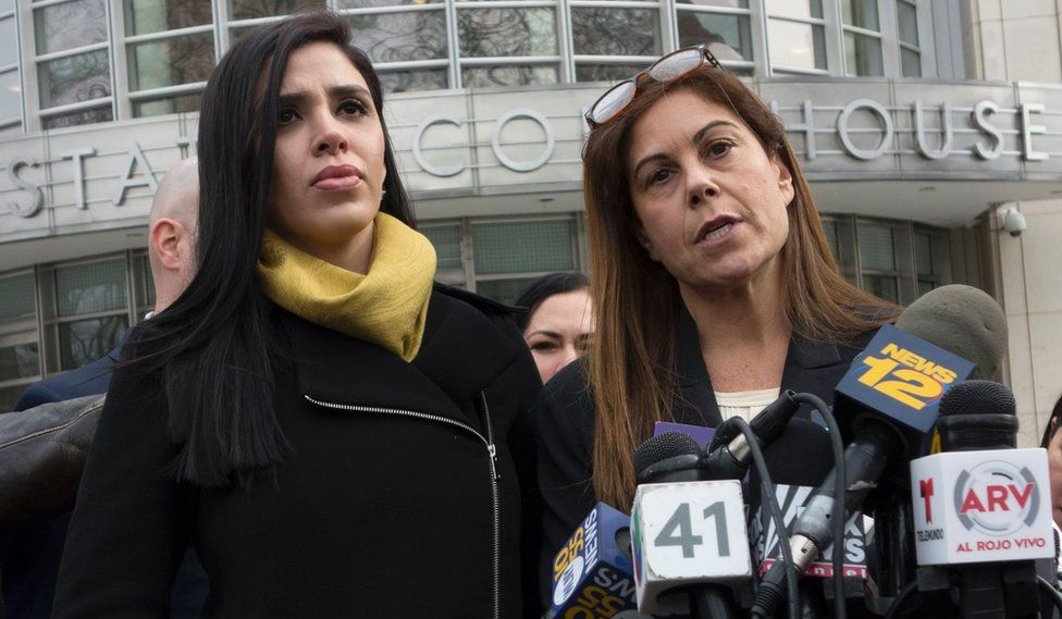 """The wife of """"El Chapo"""", Emma Coronel Aispuro (L), listens as attorney Michelle Gelernt answers questions outside the US Federal Courthouse in Brooklyn on 3 February, 2017 in New York."""