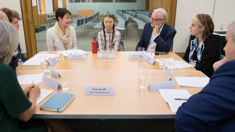 Climate change activist, Greta Thunberg met leaders of the UK political parties at the House of Commons in Westminster