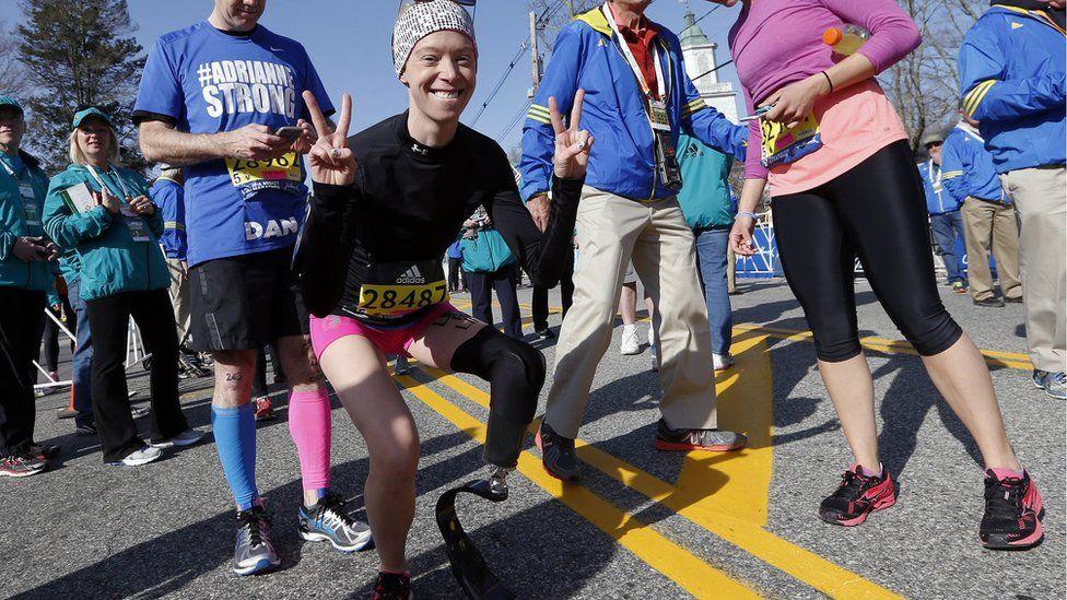 Adrianne Haslet at the 2016 Boston Marathon