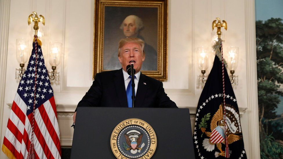 Donald Trump speaks about the Iran nuclear deal in the Diplomatic Room of the White House in Washington,