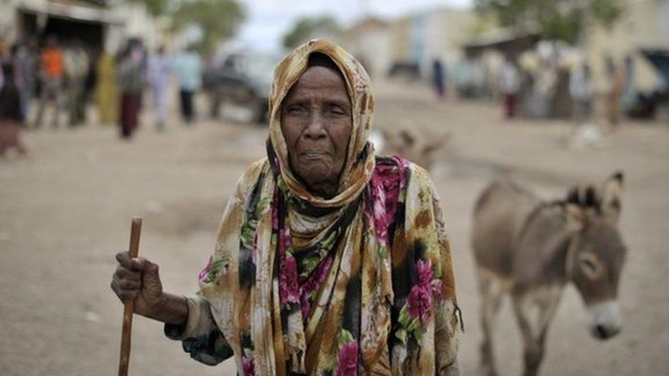 a Somali woman in Hudur on May 7, 2014 two months after the town was liberated from Al-Qaeda-linked Shebab rebels by the Ethiopian contingent of the African Union Mission in Somalia.