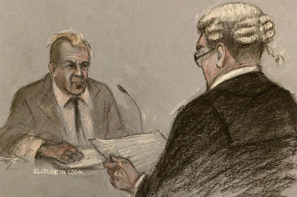 Court drawing of John Lydon giving evidence to barrister Edmund Cullen QC