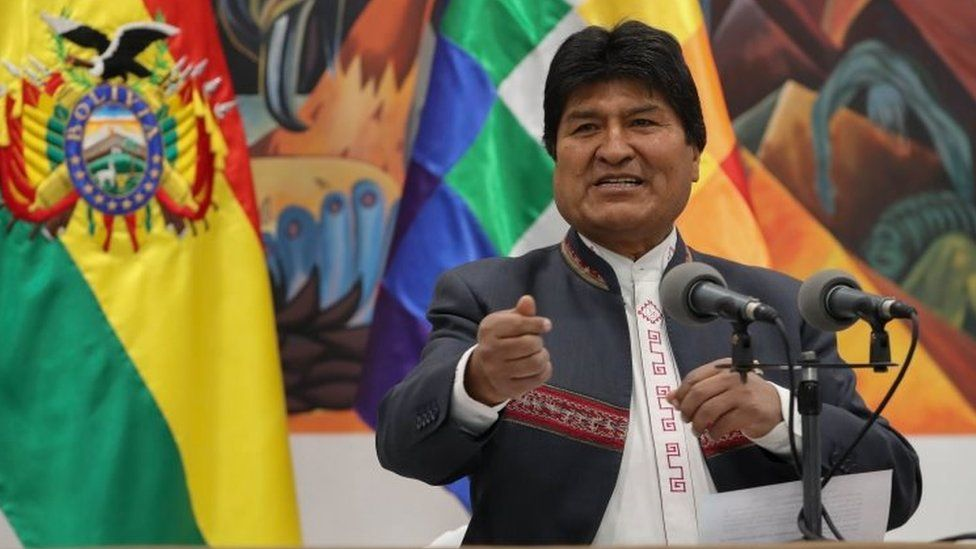 Bolivia's President Evo Morales speaks during a press conference in La Paz