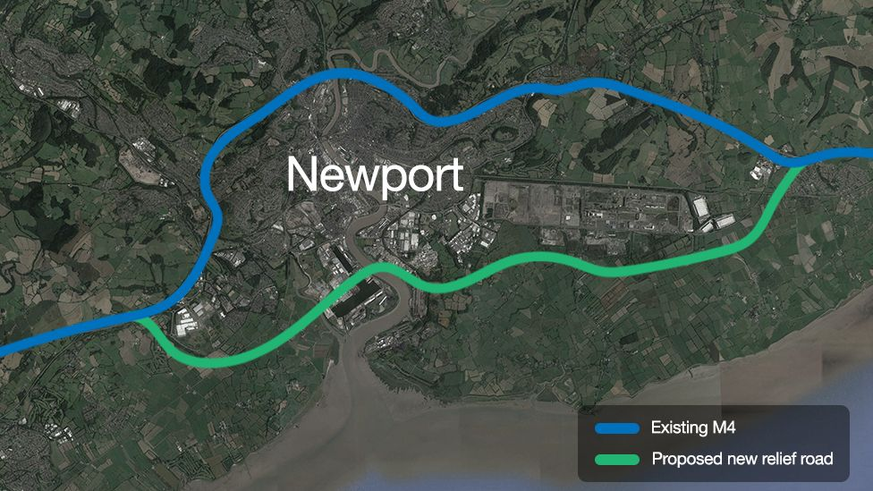 Map of the proposed £1.1bn M4 Relief Road