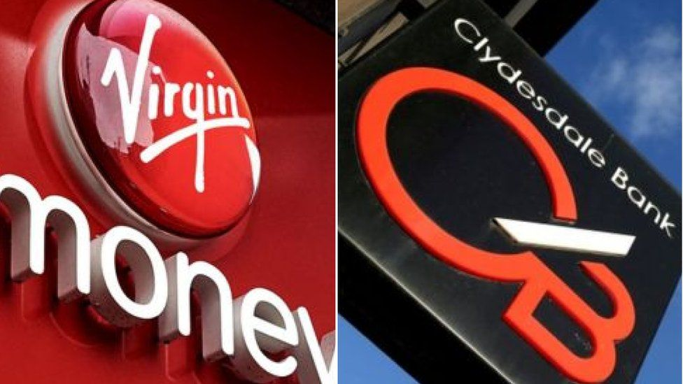 Virgin Money and Clydesdale Bank signs