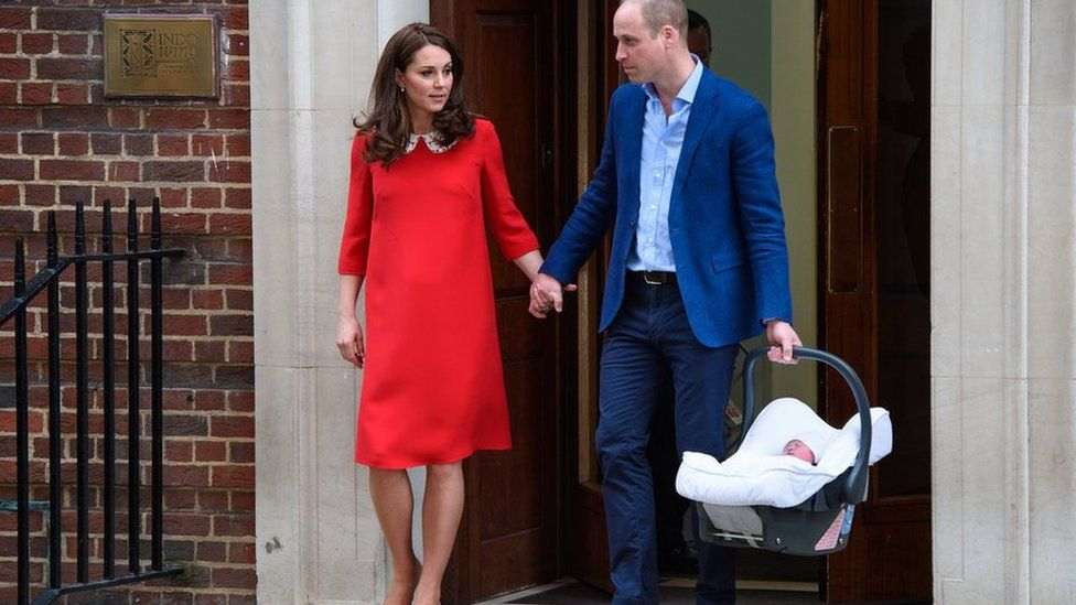 The Duke and Duchess of of Cambridge leave hospital with their newborn son in 2018.