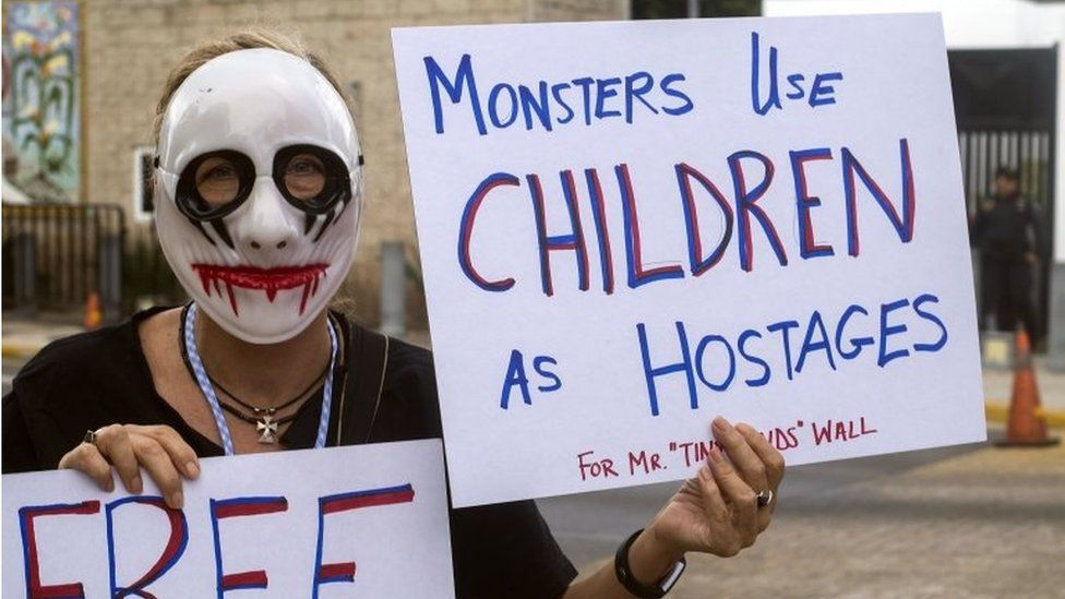 An activist protests against US President Donald Trump and the separation of immigrant children from their parents at the US consulate in the city of Merida, Yucatan, Mexico, 21 June 2018.