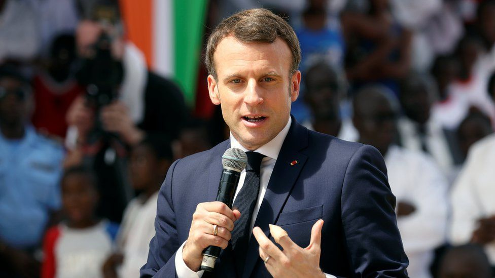 French President Emmanuel Macron speaks in the Ivory Coast on 21 December, 2019.