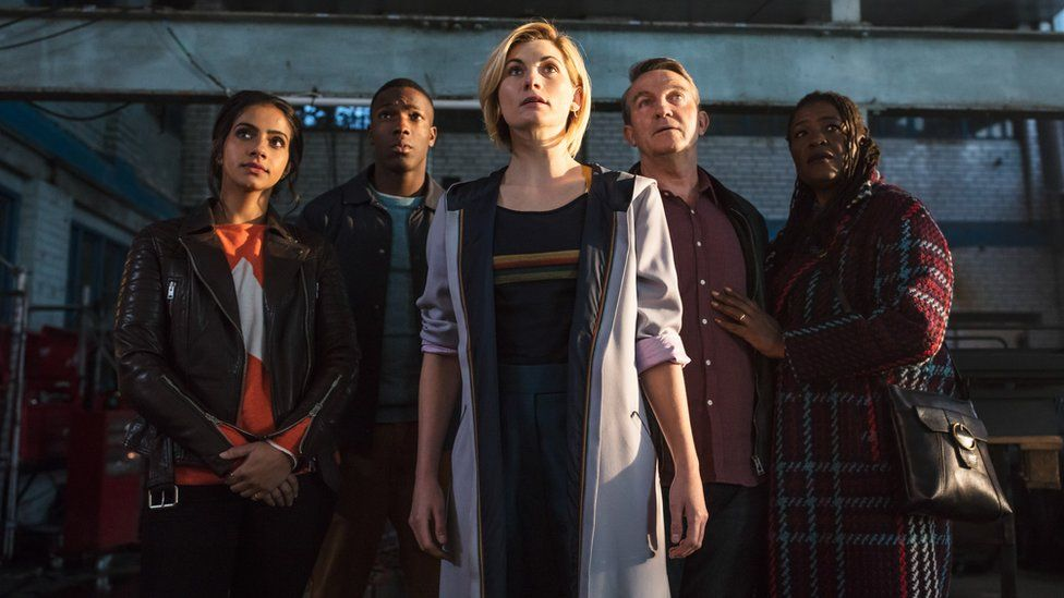 Doctor Who cast: L-R : Yaz (MANDIP GILL), Ryan (TOSIN COLE), The Doctor (JODIE WHITTAKER), Graham (BRADLEY WALSH) and Grace (SHARON D CLARKE)